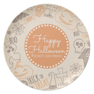 Happy Halloween Skulls Spider Web and Candy Dinner Plate