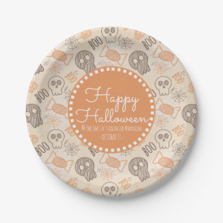 Happy Halloween Skulls Spider Web and Candy Paper Plate
