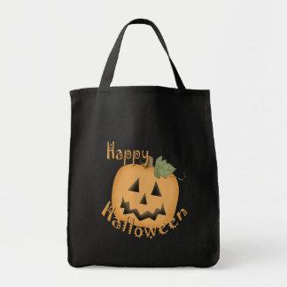 Happy Halloween Smiling Jack O'Lantern Grocery Tote Bag