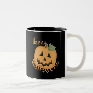 Happy Halloween Smiling Jack O'Lantern Two-Tone Coffee Mug