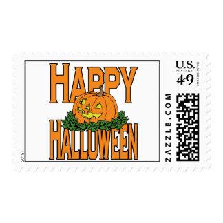Happy Halloween Smiling Pumpkin Postage