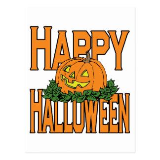 Happy Halloween Smiling Pumpkin Postcard