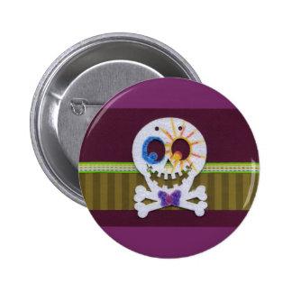 Happy Halloween Smiling Skull and Crossbones Pins