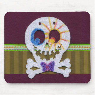 Happy Halloween Smiling Skull and Crossbones Mouse Pad