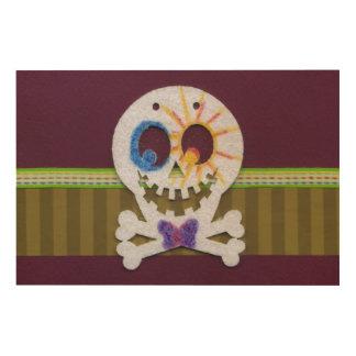 Happy Halloween Smiling Skull and Crossbones Wood Wall Art