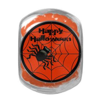 Happy Halloween Spider and Web Glass Jar