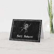 Happy Halloween Spider in Web Greeting Card