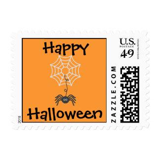 Happy Halloween Spider Postage Stamp