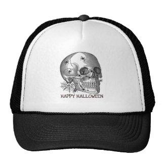 HAPPY HALLOWEEN SPIDER SKULL PRINT MESH HATS