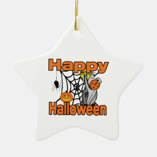 Happy Halloween Spider Web Ghost Ceramic Ornament