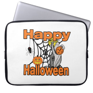 Happy Halloween Spider Web Ghost Computer Sleeve
