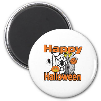 Happy Halloween Spider Web Ghost Magnet
