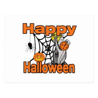 Happy Halloween Spider Web Ghost Postcard