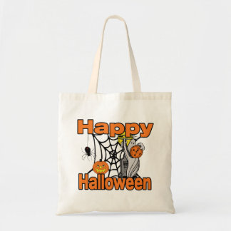 Happy Halloween Spider Web Ghost Tote Bag