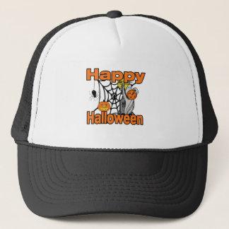 Happy Halloween Spider Web Ghost Trucker Hat
