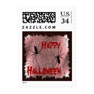 Happy Halloween Spiders Postage Stamps