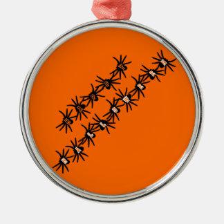 Happy Halloween Spiders Round Metal Christmas Ornament