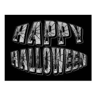 Happy Halloween Spiders & Spider Web Text Postcard
