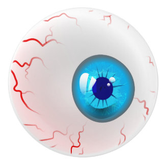 Happy Halloween! Spooky Blue Eyeball Ceramic Knob