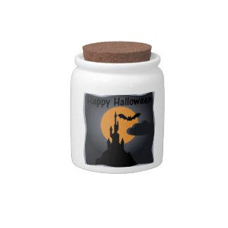 Happy Halloween Spooky Castle Candy Jar
