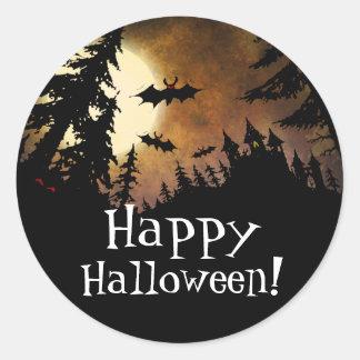 Happy Halloween Spooky Castle Full Moon Bat Party Classic Round Sticker