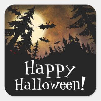Happy Halloween Spooky Castle Full Moon Bat Party Square Sticker