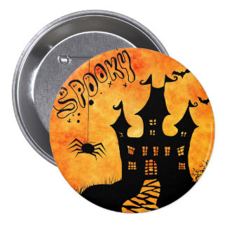 Happy Halloween Spooky Castle Pinback Button