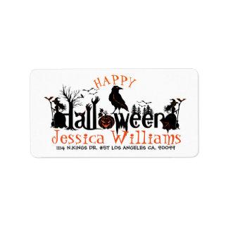 Happy Halloween Spooky Concept Design Label