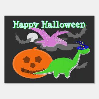 Happy Halloween Spooky Cute Cartoon Dinosaurs Sign