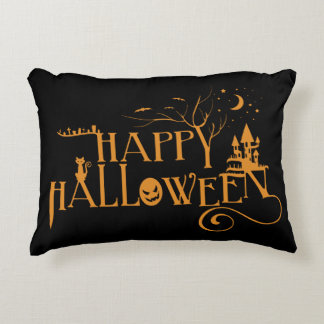 Happy Halloween Spooky Decorated Font Accent Pillow