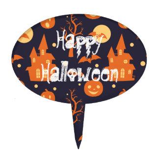 Happy Halloween Spooky House Bats Trees Pumpkin Cake Topper