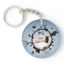 Happy Halloween Spooky Owl Keychain