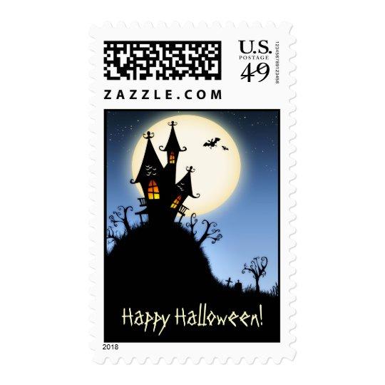 Happy Halloween Spooky Silhouette Postage