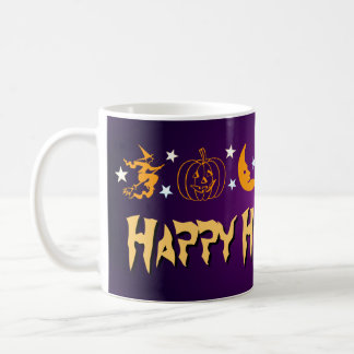 Happy Halloween Spooky Symbols Witch Moon Ghost Classic White Coffee Mug