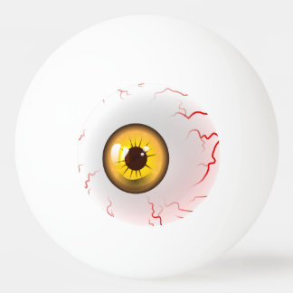 happy halloween spooky yellow eyeball ping pong ball - Halloween Ping Pong Balls