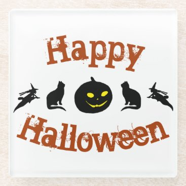 Happy Halloween Square Glass Coaster