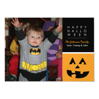 Happy Halloween Square Pumpkin Photo Card