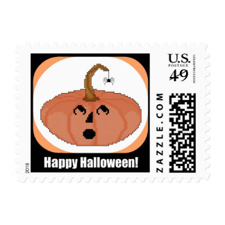 Happy Halloween Startled Pumpkin Postage