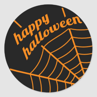 Happy Halloween Stickers with Spider Web
