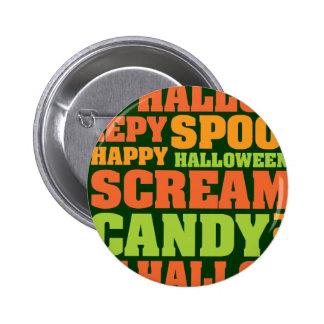 Happy Halloween Stylish Text Art Buttons