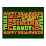 Happy Halloween Stylish Text Art Postcards