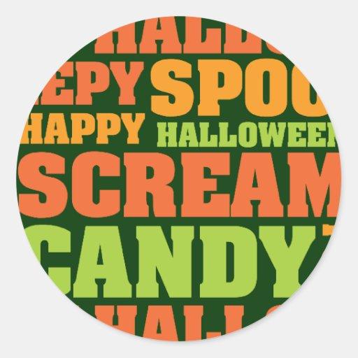Happy Halloween Stylish Text Art Stickers