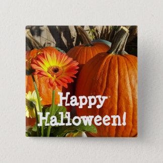 Happy Halloween Sunflower and Pumpkins Button