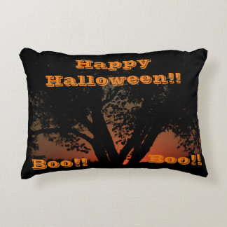 Happy Halloween Sunset Tree PILLOW Accent Pillow