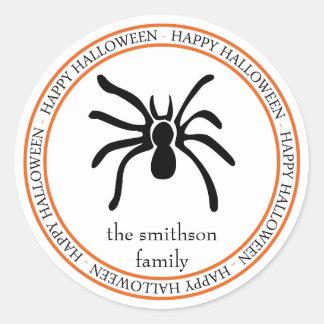 Happy Halloween Tarantula Spider (Black / Orange) Classic Round Sticker