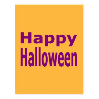 Happy Halloween Text In Purple Postcard