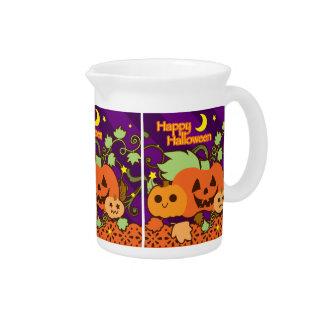 Happy Halloween Three Cute Jack o Lanterns Drink Pitchers