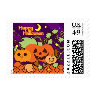 """Happy Halloween"" Three Cute Jack o' Lanterns Postage Stamp"