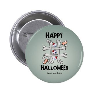 Happy Halloween Tic Tack Real Toes 2 Inch Round Button