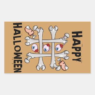 Happy Halloween Tic Tack Real Toes Rectangular Sticker